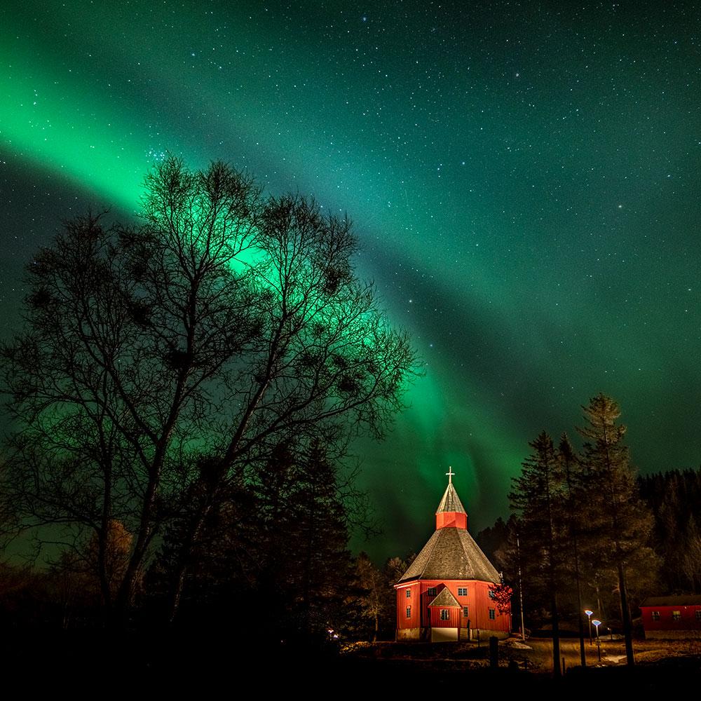 Northern lights over Hadsel church